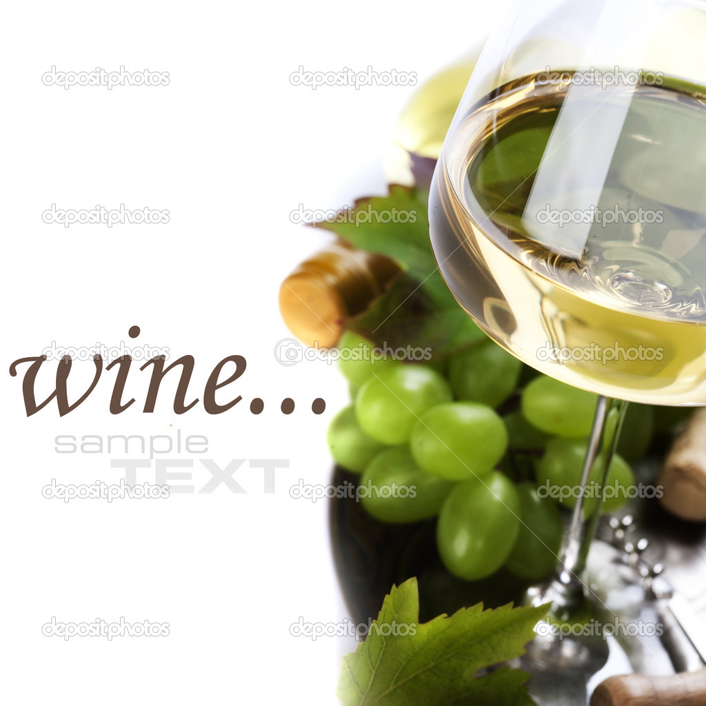 Glass of wine and grape