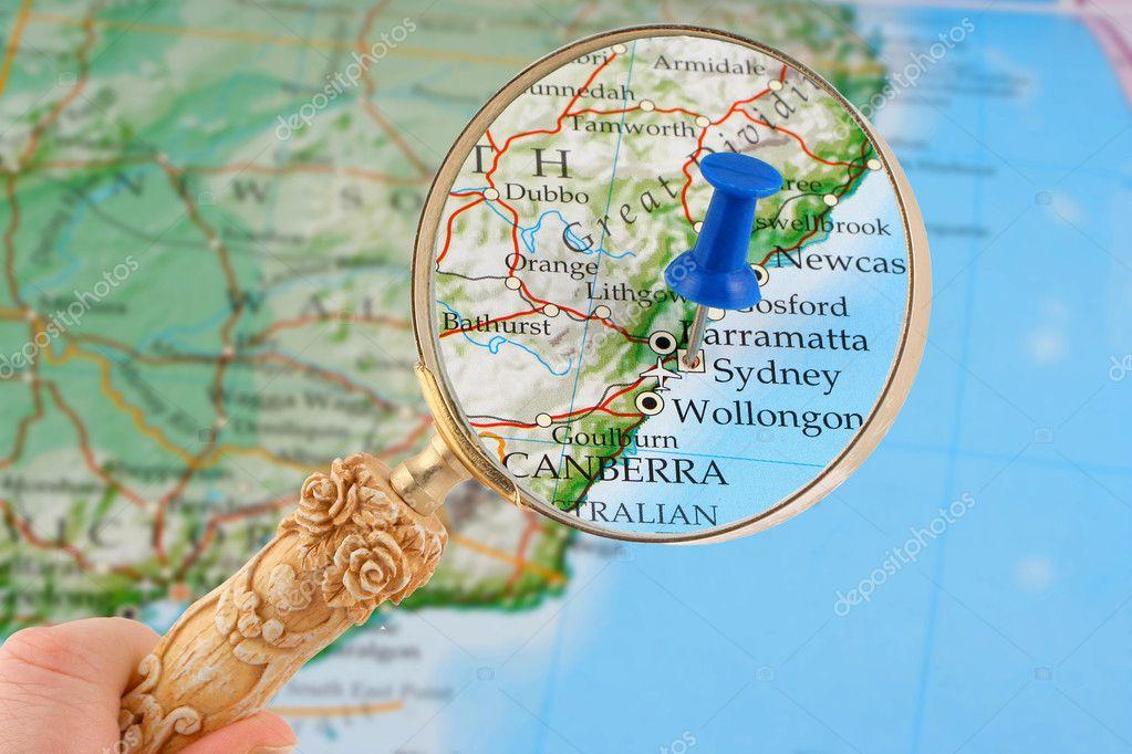 sydney térkép Sydney Térkép odaszögez — Stock Fotó © gvictoria #6751856