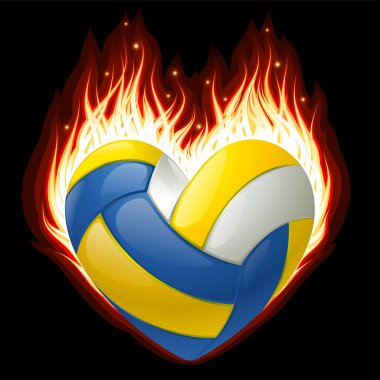 Vector volleyball on fire in the shape of heart
