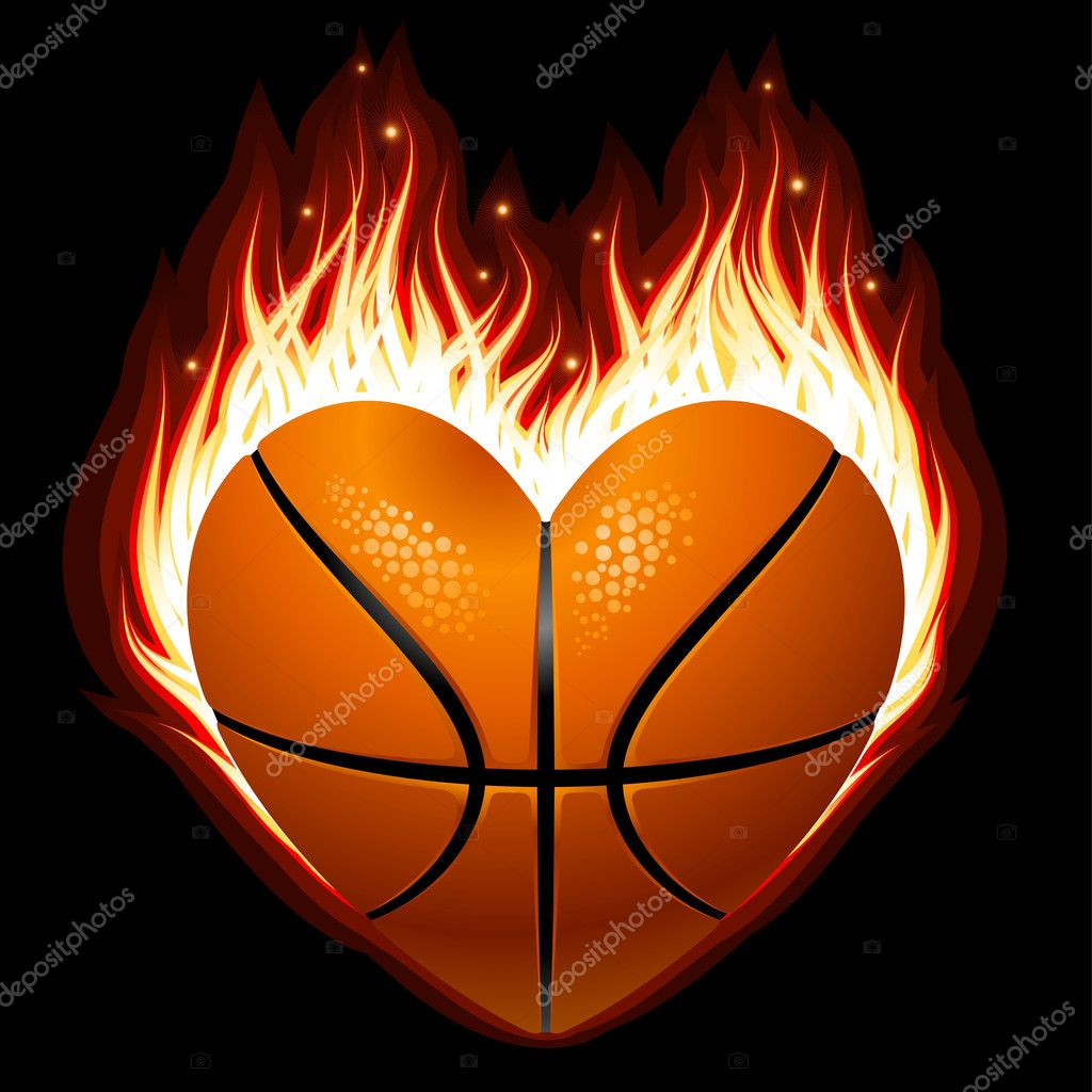 Image De Basket vector basketball on fire in the shape of heart — stock vector