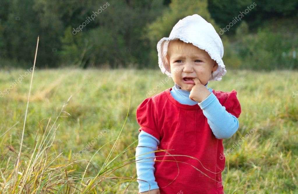 Sad Baby Girl Crying Outdoors  Stock Photo  Fajnokg 7129184-1931