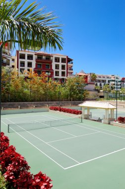 Tennis courts at the luxury hotel, Tenerife island, Spain