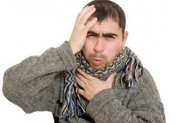 Sick man wearing a scarf on a white background.