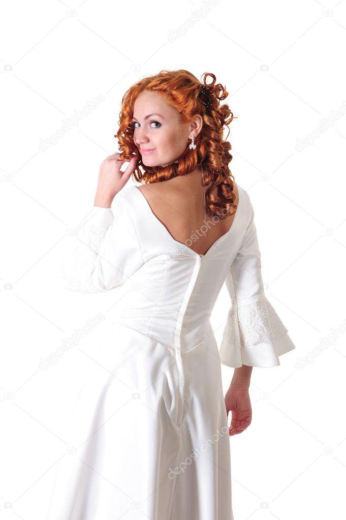 Witte Cocktailjurk.Vrouw In Witte Bruiloft Jurk Stockfoto C Teamtime 6907450