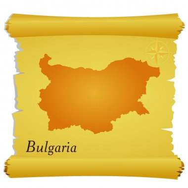 Vector parchment with a silhouette of Bulgaria