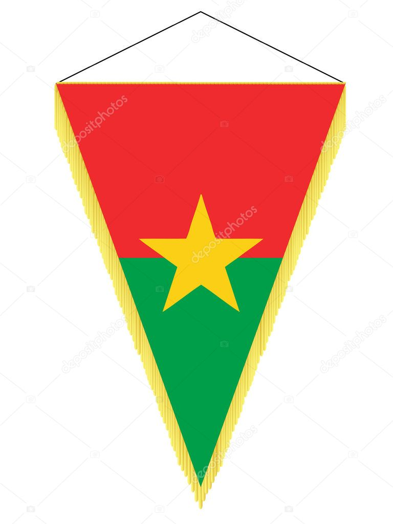 Vector image of a pennant with the national flag of Burkina Faso