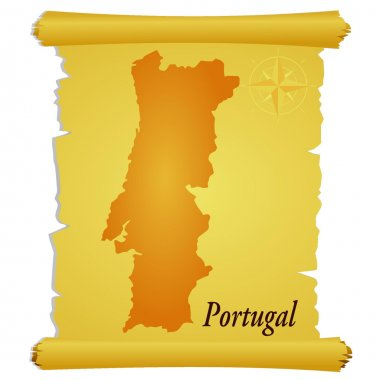 Vector parchment with a silhouette of Portugal