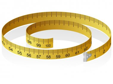 Vector illustration of a measuring tape with reflection clip art vector