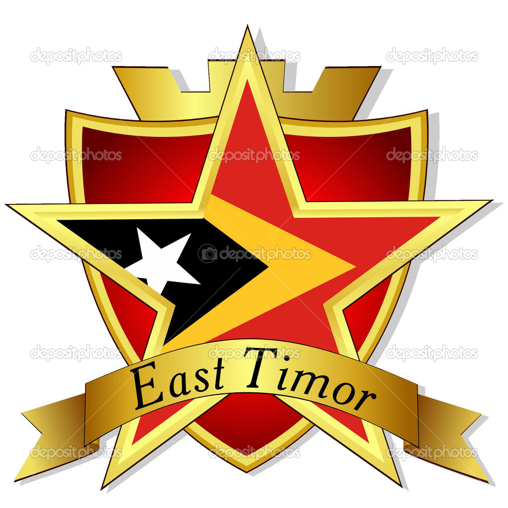 Vector Gold Star To The Flag Of East Timor On The Background Of