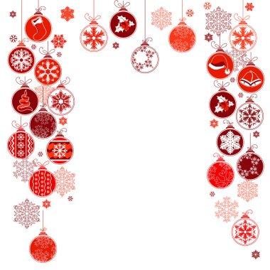 Blank Christmas frame with hanging balls