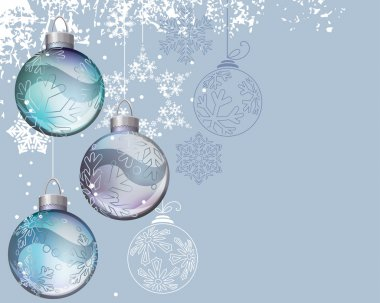 Blue Christmas background with glass balls