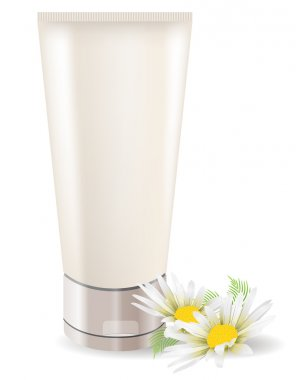 Cream tube with camomile isolated