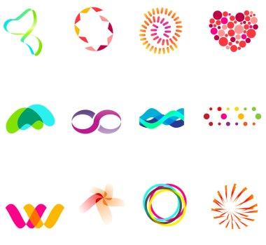 12 colorful vector symbols: (set 25)
