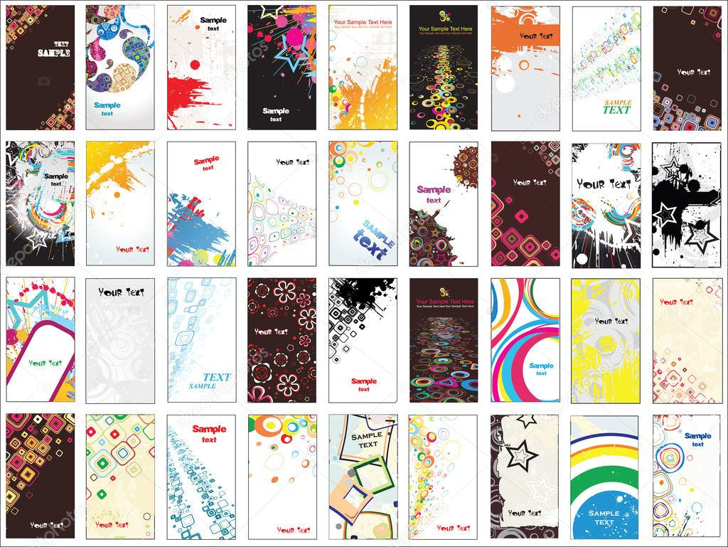 Collection vertical business cards on different topics