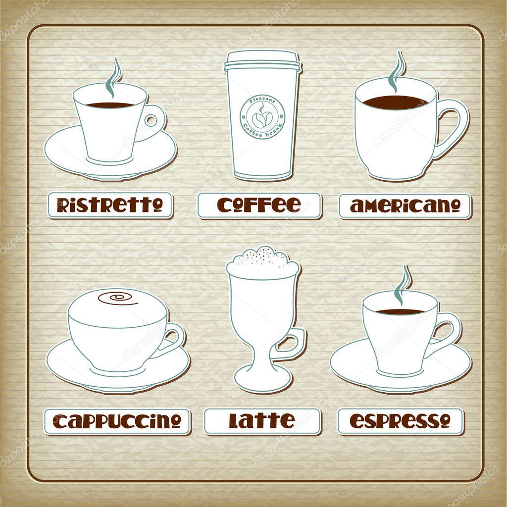 Satz von Tassen mit verschiedenen Kaffee-Getränke auf alten Carboard ...