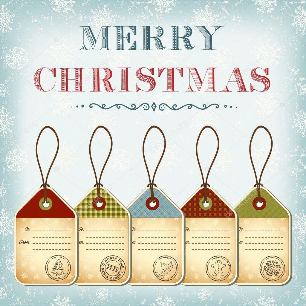 plantilla de Navidad de etiquetas vintage con sellos — Archivo ...