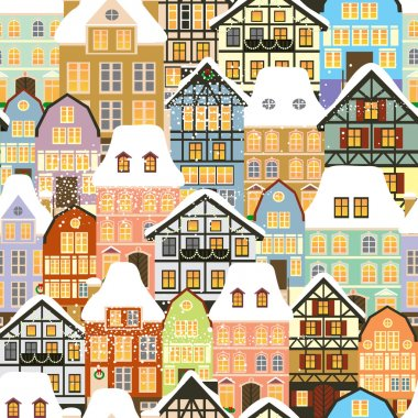 Historic houses seamless pattern