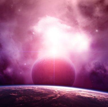 Planet with Purple Nebula