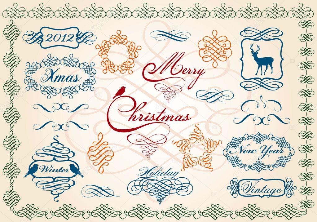 Marcos de Navidad y las fronteras, vector — Archivo Imágenes ...