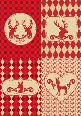 Christmas pattern with deers, vector