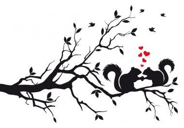Squirrels on tree, vector