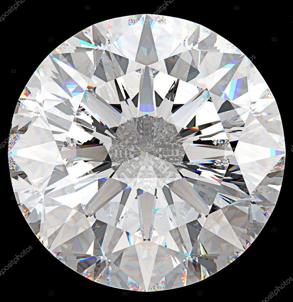 Gemstone: top view of round diamond isolated