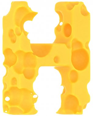 Cheeze font H letter isolated on white