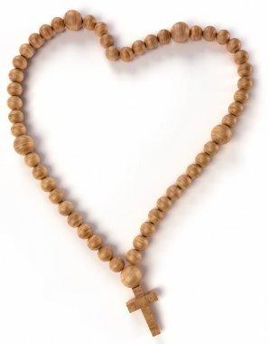 Chaplet or rosary beads heart shape over white background stock vector