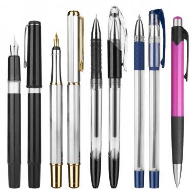Pens on white