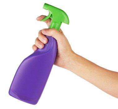 Spray bottle in hand