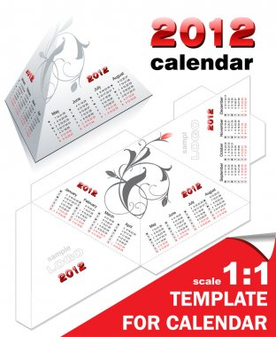 Vector template for calendar 2012