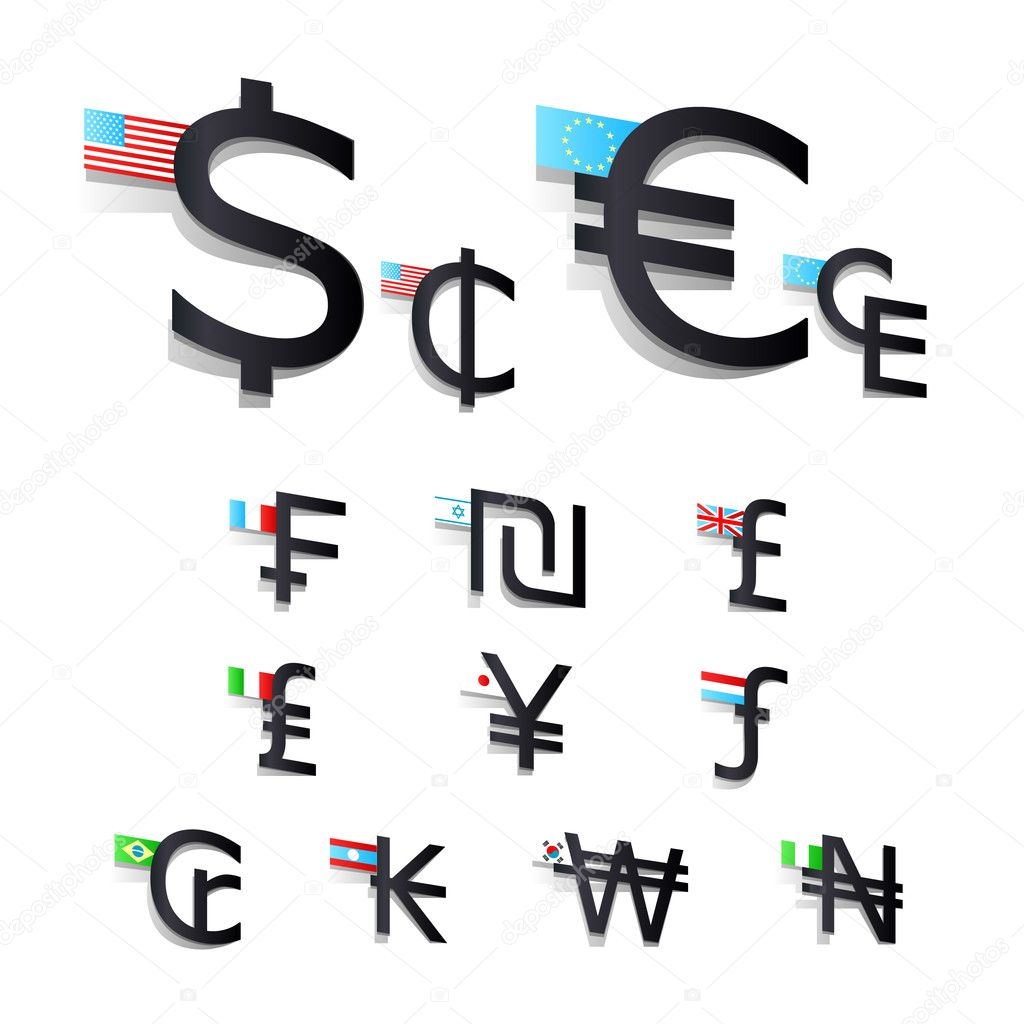 Set International Currency Symbols And Flags Stock Vector Jannet