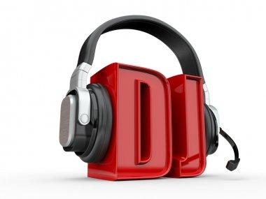 Text DJ and handphones. 3d