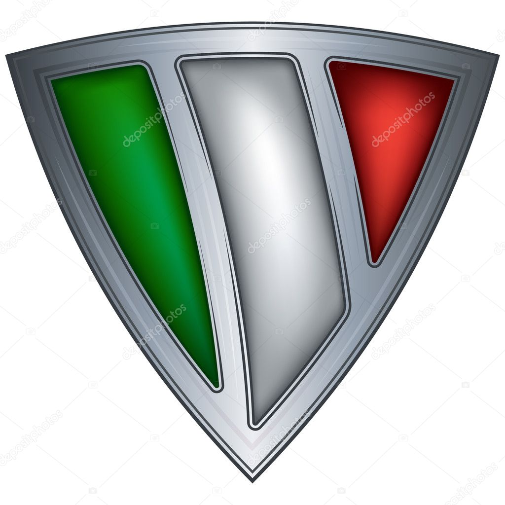 Steel shield with flag Italy