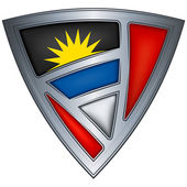 Steel shield with flag Antigua and Barbuda