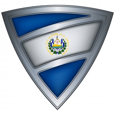 Steel shield with flag El Salvador
