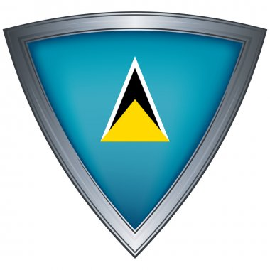 Steel shield with flag Saint Lucia