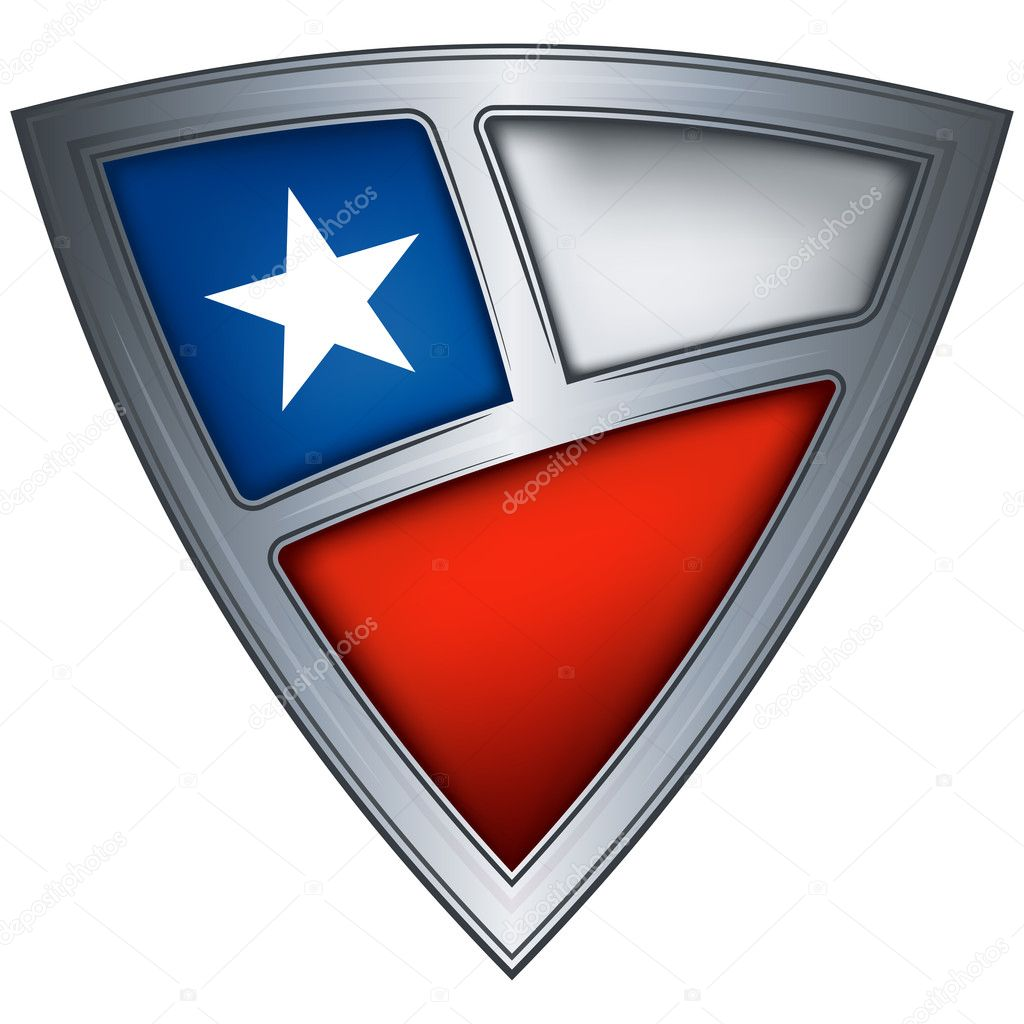Steel shield with flag Chile