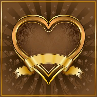 Gold heart frame with ribbon