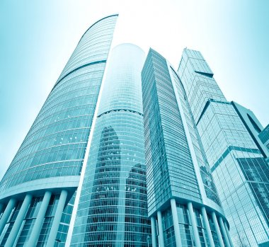 Perspective view to glass high-rise skyscrapers of Moscow city
