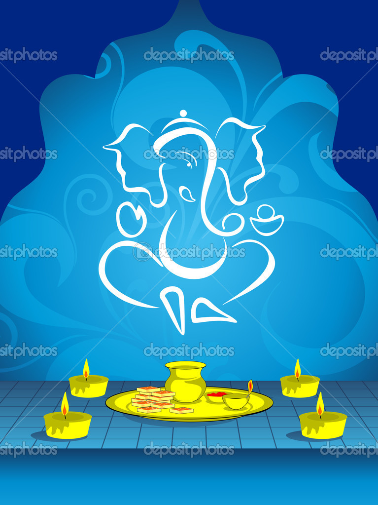 Abstract blue floral design background with ganpati and burning candle with pooja's plate for traditional indian festivals deepawali stock vector