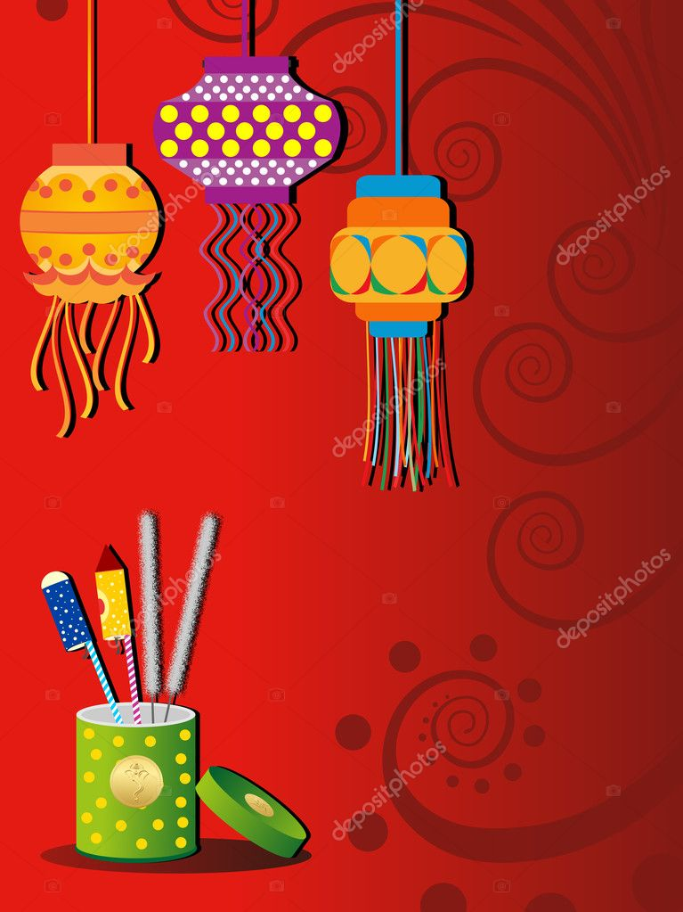 Floral design background with hanging colorful design lamp and cracker box for diwali & other indian festival stock vector