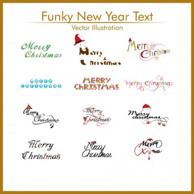 A typograpy set of twelve diffrent funky style text for merry ch