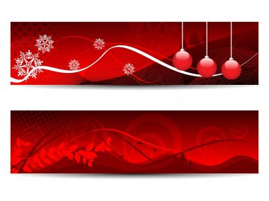 Set of website headers in red color for all occasions