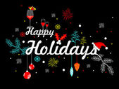 Decorated happy holidays text with black background