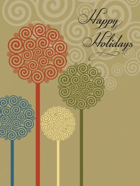 Spiral background with artistic tree vector for happy holidays