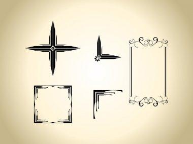 set of design elements in vintage style, vector illustration.