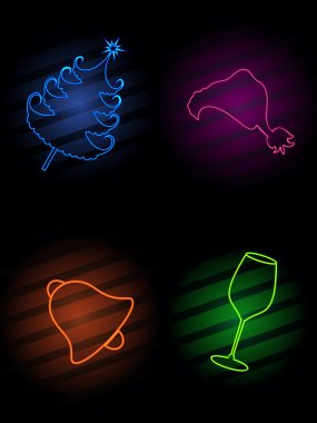 Set of shiny Christmas elements in black color background for Ch