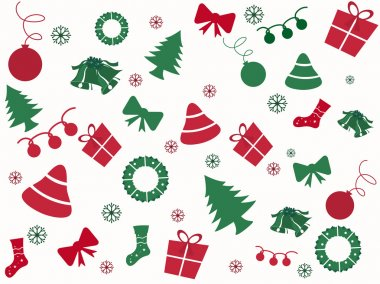 Christmas pattern made from many Christmas trees and elements fo