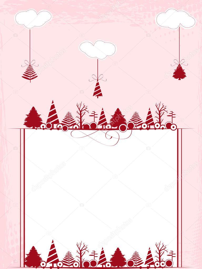 Vintage marco con los ornamentos de la Navidad y rosa backgr nublado ...